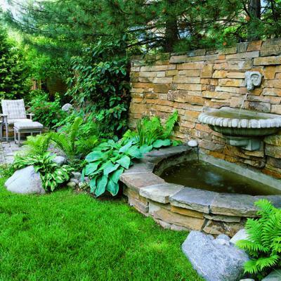 装饰家庭花园喷泉介绍 – 石壁多层喷泉