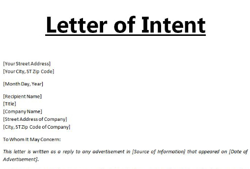 letter on intention