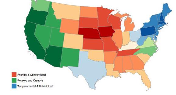 美国各州的情绪地图