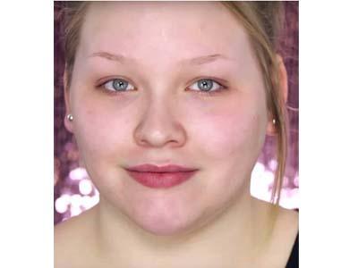 半脸美女展示化妆神奇效果