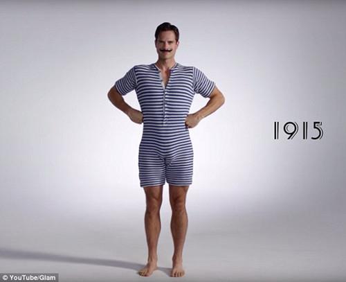 100年前美国男人泳衣居然是这样的